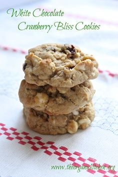 White Chocolate Cranberry Bliss Cookies   The Organic Kitchen Blog and Tutorials