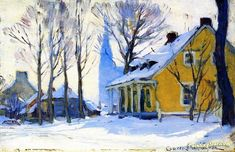 Canadian Village, Grey Day Artwork by Clarence Gagnon Hand-painted and Art Prints on canvas for sale,you can custom the size and frame