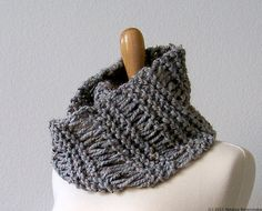 Chunky Grey Neck Warmer Cowl Scarf