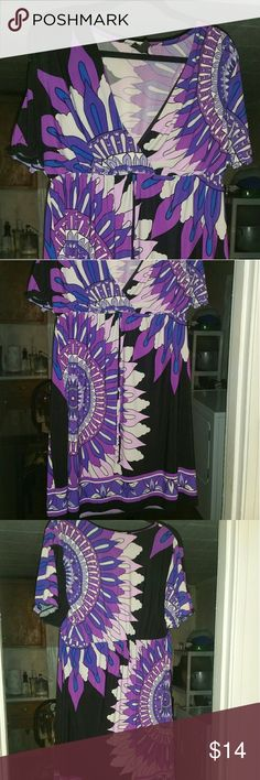 Multicolored Dress Multicolored dress with black, white, & shades of purple; plunging V-neck; string in front that can be tied; worn 3 times Dresses