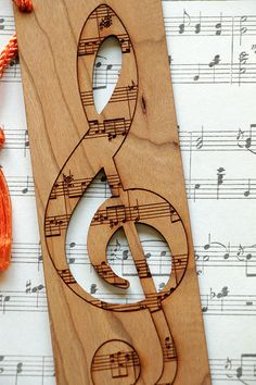 Music Bookmark Treble Clef Bookmark Music Style by FinePenArt