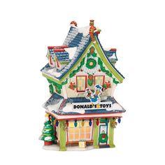 amazoncom department 56 disney village lit house donalds toy shop holiday collectible buildings