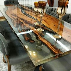 75 Fabulous Resin Wood Table for Your Home Furnitu. 75 Fabulous Resin Wood Table for Your Home Furniture Ideas Live Edge Furniture, Resin Furniture, Furniture Dining Table, Furniture Design, Furniture Ideas, Antique Furniture, Smart Furniture, Natural Wood Furniture, Furniture Nyc