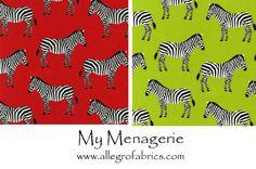 My Menagerie Zoo Animals Zebra Stripes Zebras RK Cotton Fabric on Lime Green. $9.75, via Etsy.