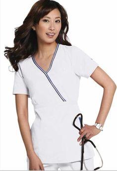 NWT-Koi-Medical-Uniforms-Ali-162-Mock-Wrap-WHITE-Scrub-Top-XS-3XL