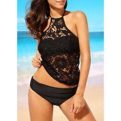 Rotita Padded Open Back Black Lace Tankini Sets ($28) ❤ liked on Polyvore featuring swimwear, bikinis, black, tankini swimwear, tankini bikini, padded bikinis, print bikinis and lace two piece