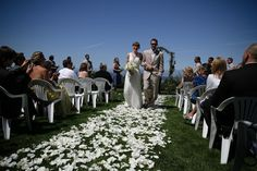 white rose petal aisle for outdoor wedding ceremony / Koru Wedding Style: {Lovely Vineyard Wedding} Melissa & Melbs
