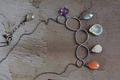 Sterling Silver Prehnite Necklace   Silver Link by JooniJewelry