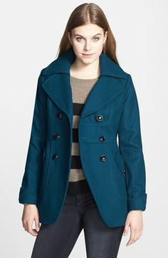 GUESS Cutaway Front Double Breasted Wool Coat (Petite) | Nordstrom