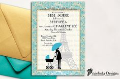 Paris Themed Photo Baby Shower Invitation by pixieboladesigns, $20.00