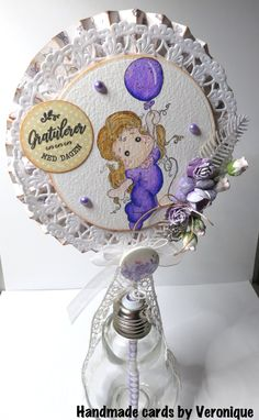 "Hello, It´s time for a new challenge at Ally´s Angels . As usual is the theme ""anything goes"". As inspiration I´ve made a lollip. Magnolia, Snow Globes, Challenges, Angel, Cards, How To Make, Blog, Inspiration, Decor"