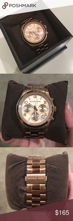 Michael Kors Runway Watch Rose gold, large runway watch. Slight rusting on couple links. Extra links included with original packaging. Michael Kors Accessories Watches