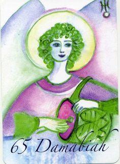 "(65) DAMABIAH (Kabbalistic angel) 10-14 February, provides essence of: Fount of Wisdom. (ángel Cabalístico) 10-14 febrero, aporta esencia de: Fuente de Sabiduría. Deck: ""Le Carte degli Angeli"" Artist: Oliwka Neugebauer Angel Drawing, Names Of God, Love Signs, Tarot, Disney Characters, Fictional Characters, Religion, Drawings, Artist"