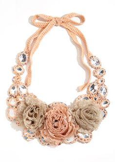 Adia Kibur Light Pink, Green, Beige Crochet Flower Necklace #ideeli