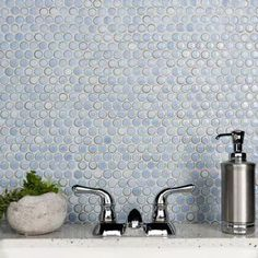 Hudson Penny Round Frost Blue 12 in. x 12 in. Porcelain Mosaic Tile (10.74 sq. ft. / Case)