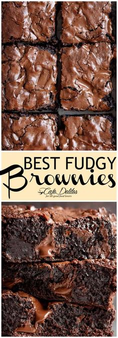 Worlds Best Fudgiest Brownies is my best brownie recipe! Perfect crisp crackly top, super fudgy centre, chewy or gooey in all the right places, studded with melted chunks of chocolate. Each ingredient comes measured AND weighed Kakao Brownies, Brownies Cacao, Chewy Brownies, Easy Brownies, Baking Brownies, Double Chocolate Brownies, Brownie Cookies, Brownies With Cocoa Powder, Brownies Without Butter