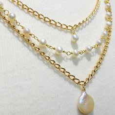 Triple Strand Gold Pearl Necklace | AllFreeJewelryMaking.com