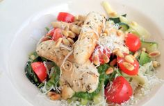 Courghetti met kip pesto