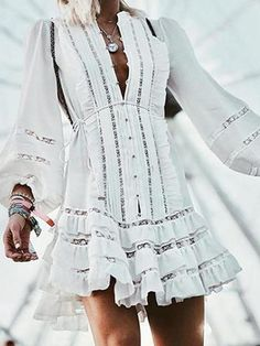 Fashion Lantern Sleeve Hollow Out Ruffles Lace Up Casual Dress – jollyluva dress outfit outfits dress winter dress Lace Outfit, Outfit Work, Casual Dresses For Women, Dress Casual, Women's Fashion Dresses, Modest Fashion, Types Of Fashion Styles, Dress Brands, Mini Dresses