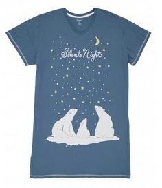 """Hatley Nature """"Silent Night"""" Women's Nightshirt in Blue - The Pajama Company"""