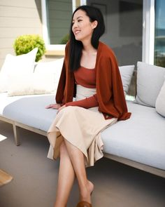 Fall 2020 work outfit - root neutral colors Cashmere Cardigan, Cashmere Sweaters, Neutral Skirts, Interview Style, Work Chic, Sweater Set, Business Fashion, Work Fashion, Classic Looks