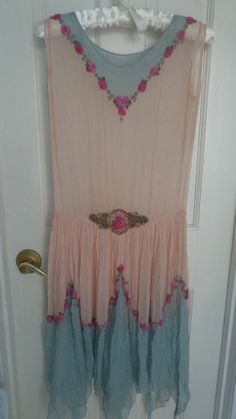 Women's Antique 1920's Pink & Blue Silk Chiffon Dress With Beading #Unknown
