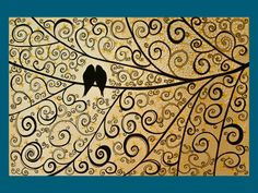 love the swirls, love the birds... I've done swirl art before, just need to add some birds and turquoise.
