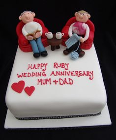 Ruby Wedding Anniversary cake by The Boutique Kitchen – For all your Ruby Anniversary cake decorating supplies, please visit www. 40th Wedding Anniversary Cake, Ruby Anniversary, Ruby Wedding Cake, Wedding Cakes, Aniversary Cakes, Dj Cake, Friends Cake, Cake Decorating Supplies, Novelty Cakes