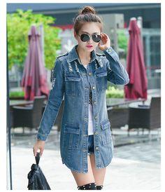 Denim Jacket Women 2016 Spring Women New Fashion Popular Frayed Long Paragraph Denim Coat Women Multi-Pockets Denim Clothes #Affiliate