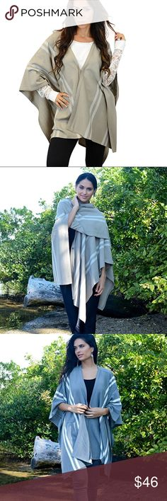 Cecile striped over throw Stylish and perfect for this season! Various colors and easy to pair! Perfect for layering! 💯 acrylic Tops Blouses