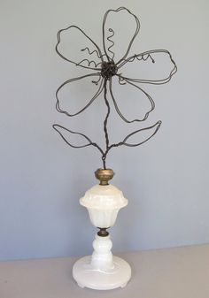 Wire Flower Photo/Note/Card Holder in Vintage Lamp Base. Use for old milk glass lamp.