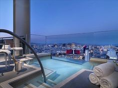 Las Vegas condo rental - Your own private pool spa cantilevered off the balcony 550 ft. above the strip!