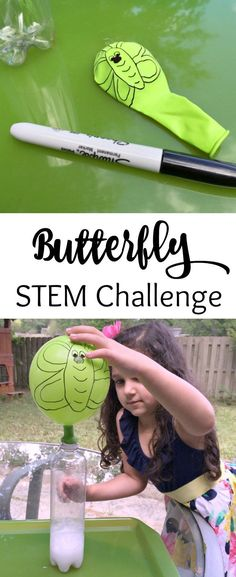A fun STEM Challenge for Kids! Caterpillar to Butterfly Science Activity with Ba. A fun STEM Challenge for Kids! Caterpillar to Butterfly Science Activity with Balloons! See how to create your own science experiment for hours of fun. Kid Science, Science Experiments For Preschoolers, Science Crafts, Stem Science, Preschool Science, Teaching Science, Science Projects, Science Books, Experiment Of Science