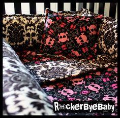 CUSTOM punk baby CRIB BEDDING you choose the by RockerByeBaby