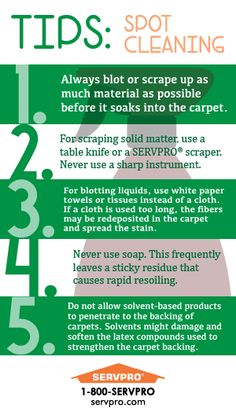 Have a #Stain? #SERVPRO is here to help!   Spot Cleaning Tips #Greenmeansclean