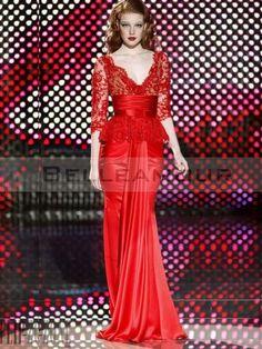 Robe de Soirée Rouge Chic Col V Sexy Dentelle Satin Longue