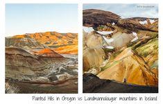 Painted Hills in Oregon vs Landmannalaugar in Iceland - Colorful Hills Oregon Vacation, Oregon Road Trip, Oregon Travel, Vacation Places, Dream Vacations, Travel Usa, Beautiful Places To Travel, Cool Places To Visit, Hillsboro Oregon