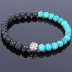 Men's Bracelet Handmade with Lava Rock Turquoise Tibetan Silver Bead 41M #Handmade #MensTibetanBeadedBracelet
