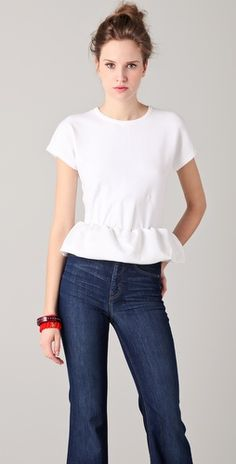 The most classic way to wear a very trendy top.   Marc by Marc Jacobs Luca Peplum Sweater