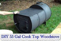 DIY 55 Gal Cook Top Woodstove
