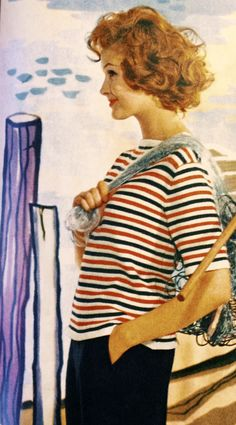 Retro striped pullover - free knitting pattern in Swedish.