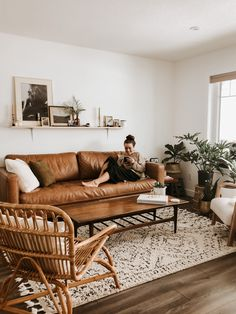 Our living room is my second favourite room in our house Ou - Boho Living Room, Home And Living, Living Room Decor, 2 Living Rooms In One Space, Living Room Ideas Leather Couch, Leather Couches, Living Room Inspiration, Home Decor Inspiration, Room Interior