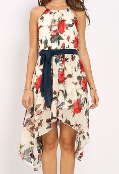 Floral Patterned Maxi Dress W/Belt $26.99