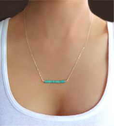 Turquoise dainty bar necklace by GlassPalaceArts