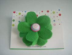 Hand-cut, hand-sewn, green flower alligator hair clip featuring layered buttons, by two dot designs