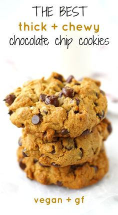 Thick and chewy chocolate chip cookies are perfect with a glass of milk. This delicious version is gluten free and vegan!
