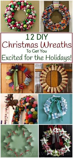 DIY Christmas wreath tutorials. So many great ideas for holiday crafts, decor and gifts!