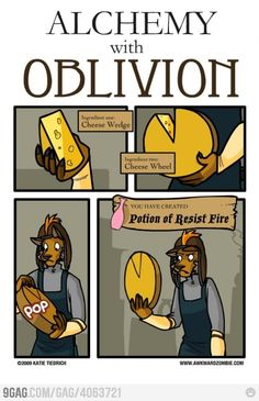Well, actually...the cheese counts as a food, not as an alchemy ingredient. But it's still funny. (I know, I know, I'm a nerd.)
