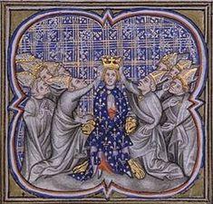 Couronnement de Louis d'Outremer (Chroniques de France, 15°s) -Biographie: Devenu l'héritier carolingien par la mort en captivité de Charles III (929), il est rappelé d'Angleterre par le puissant marquis de Neustrie Hugues le Grand afin de succèder au roi Raoul mort au début de l'année 936, laquelle marque alors le retour de la dynastie carolingienne.