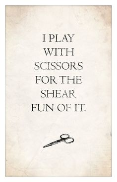 I play with scissors for the shear fun of it. #hairstylist #humor. ~K